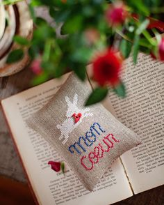 #allthebeautifulthings #crossstitch #crossstitching #lavendersachet #valentinesday #heart #roses #redroses #red #cozy #cozywinter #book