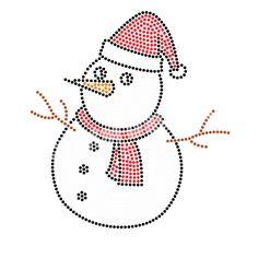 Snowman Simple Design Rhinestone Heat Transfers Wholesale for Apparel