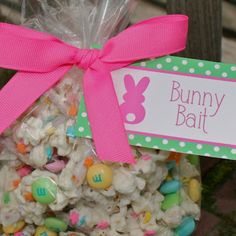 Bunny BaitAwesome Idea for Easter   Bunny bait ! 2 cups pretzels 1 bag popped white popcorn 1 package Almond Bark white melting chocolate 1 bag of festive M&M's 2 cups of Chex cereal 1 container of sprinkles Spread pretzels , popcorn and Chex on an foil covered bakinig sheet and drizzle white chocolate over the mixture ... Gently stir to coat evenly ... Add sprinkles but don't stir it anymore or the sprinkles will be coated with chocolate and turn white ... Let harden on cookie sheets