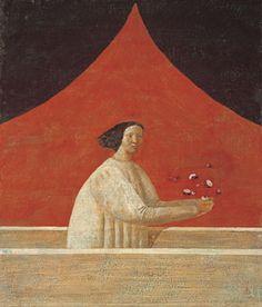 有元利夫 春 Japanese Modern, Japanese Painting, Japan Art, Japanese Artists, Retro Art, Red Background, Illustration Art, Illustrations, Figurative Art