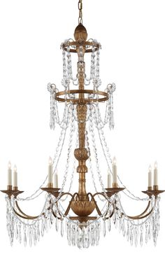 Crystal Chandelier in Antique Gilded Wood with Crystal