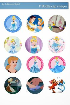 I& sharing free digital bottle cap images I created Cinderella Cartoon, Cinderella Pictures, Cinderella Disney, Disney Pixar, Bottle Cap Art, Bottle Cap Crafts, Bottle Cap Images, Cinderella Cupcakes, Cinderella Birthday