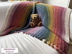 Ravelry: OmbRainbow Blanket pattern by Melanie Poulter Modern Crochet Patterns, Crochet Blanket Patterns, Stitch Patterns, Crochet Blankets, Rainbow Crochet, Bobble Stitch, Photo Tutorial, Rainbow Colors, Colours