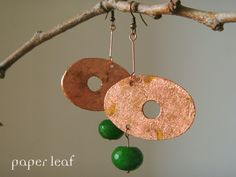 Reverse in Green - handamade paper earrings, faux gold leaf and green stone