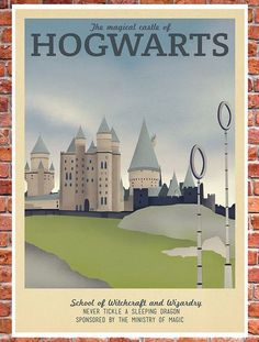 Retro Travel Poster - Harry Potter - School of Hogwarts - MANY SIZES - Modern Vintage Magic Wizard Geek Film Typography Art Print by TeacupPiranha Harry Potter Set, Harry Potter Hogwarts, Mischief Managed, Vintage Travel Posters, Illustrations, Slytherin, Just In Case, Retro, Potter School