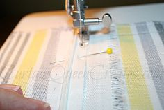 Sewing First Zipper Seam. This blog post is about making a bench cover with a zipper but the zipper instructions are so easy I pinned it for them.