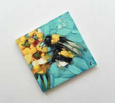 Reserved for Julie. Bumblebee painting, Tiny original impressionistic oil painting of a whimsical Bumblebee, on panel. Small Canvas Paintings, Mini Canvas Art, Small Paintings, Bee Painting, Painting & Drawing, Painting Inspiration, Art Inspo, Bee Art, Guache