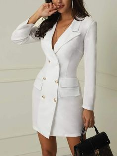 Double Breasted Blazer Dress Simple Cheap Chic, Shop V-Neck Double Breasted Blazer Dress online.Simple Cheap Chic, Shop V-Neck Double Breasted Blazer Dress online. Work Suits, Double Breasted Blazer, Blazer Dress, Blazer Outfits, Coat Dress, Sleevless Blazer, Blazer Fashion, Dress Outfits, Suit Jacket Dress