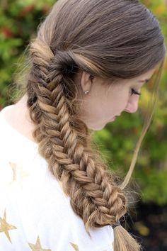A messy split fishtail braid...LOVE  #hairstyles #CuteGirlsHairstyles #CuteGirlHair #hairstyle #braid #braids #fishtail