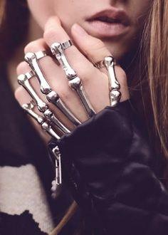 Lovely, Very Interesting, Silver, Skeleton, Beautiful, Rings, Bracelet. | Street Fashion