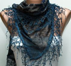 Multicolor Scarf - Headband Necklace Cowl with Lace Edge by Fatwoman. $17.00, via Etsy.