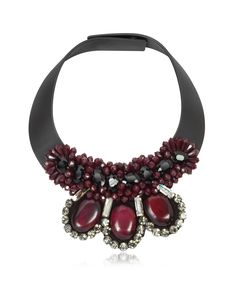 Marni Dark Red Leather and Horn Choker at FORZIERI