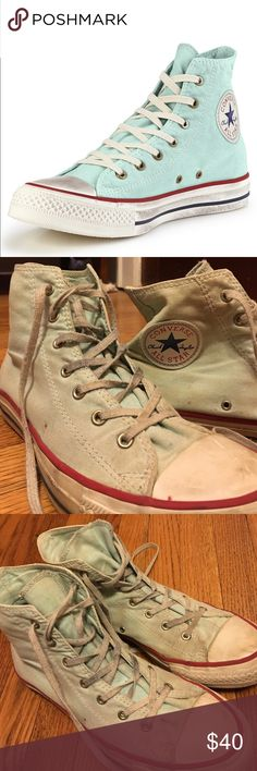 high top mint colored converse pretty mint colored converse. worn. any questions just ask! Converse Shoes