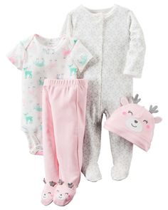 Set includes, pink hat with 3D gray antlers / ears and happy face - short sleeve bodysuit in off white with all over print of reindeer and snowflakes. Footed pants in pink with happy reindeer face feet. | eBay!