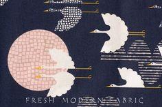 Half Yard Tsuru 1000 Cranes in Indigo, by Rashida Coleman Hale, 100% Organic Cotton, Cloud9 Fabrics on Etsy, $6.99 AUD
