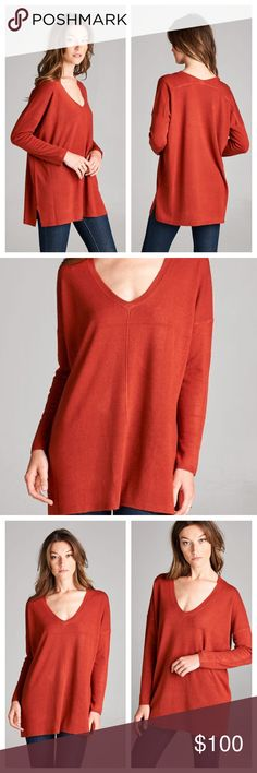 "Burnt Orange V-Neck Sweater Top Loving this Color for Fall!🍁Burnt Orange V-Neck Sweater Top. So Soft and Lightweight! Long Sleeve with Side Slits. Comfortable Loose Fit. 100% Acrylic. Looks Great with Dark Denim, and Long Enough To Wear Over Leggings!  ✨Use the ""Buy Now"" or ""Add to Bundle"" Button to select your size for Purchasing✨ Sweaters V-Necks"