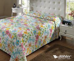 Os temas florais são repletos de romantismo. Traga um pouco desse clima gostoso para o seu quarto com a linha de cama Vania! #quarto #decoracao #floral #dohler