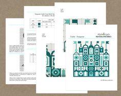 turquoise castle cross stitch pattern diy by ModernNeedleworks