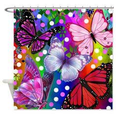 Shower Curtain  Abstract Floral Butterflies Bold by FolkandFunky