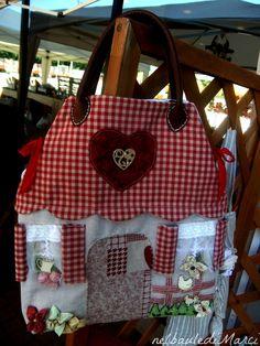 borsa ,bag,shopper,home,cucito creativo,red