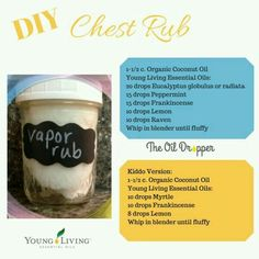 DIY chest rub - Doesn't have to be Young Living Brand. I have had great success with piping rock, mountain rose herbs and now for this topical application this evening. Essential Oils For Colds, Essential Oil Uses, Young Living Essential Oils, Chest Rub, Healthy Oils, Young Living Oils, Oil Benefits, Living Essentials, How To Stay Healthy
