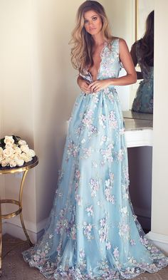 Prom Dress For Teens, 2019 Sky Blue Prom Dresses See Through Embroidery Formal Dress Evening Dress, cheap prom dresses, beautiful dresses for prom. Best prom gowns online to make you the spotlight for special occasions. Floral Prom Dresses, V Neck Prom Dresses, Beautiful Prom Dresses, Pretty Dresses, Wedding Dresses, Floral Gown, Bridesmaid Dresses, Prom Gowns, Quinceanera Dresses
