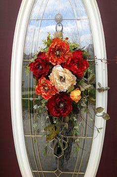 Spring Wreath Summer Wreath Teardrop Door Twig Swag Vertical Decor via Etsy