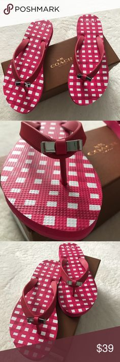 "NWT Coach Amel rubber flip flop in poppy pink Coach Amel flip flop in ""poppy pink"", a pink and white gingham print with a sweet little bow on top. Brand new with box! Coach Shoes Sandals"