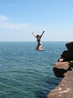 Gotta love cliff jumping at Madeline Island, Bayfield, WI.