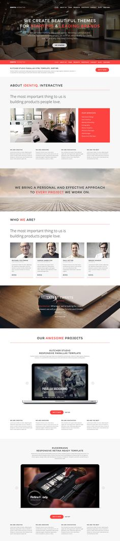 'Identiq' is a slick responsive one page template for any creative studio or business and only costs $13. It is a perfect portfolio template for showcasing your work with multiple sliders and a neat parallax effect as you scroll down the long one pager.