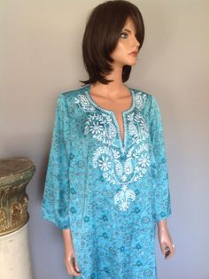 Tunic Lane Bryant Women's Plus Size 18/20 Turqouise Blue Floral  Embroidered #LaneBryant #Tunic #CasualParty