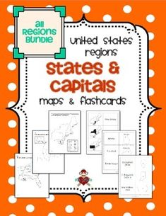 All US Regions States & Capitals Maps & Flashcards. UPDATED 2/16/2014! Includes 3 maps (labeled, blank with & without word bank) for each of the 5 regions of the United States (15 maps in all) and 3 sets of flashcards to study states and/or capitals (state shaded in region / state name, state name and outline / capital, state outline / state name and capital). $