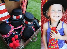 CIRCUS/CARNIVAL PARTY- a photo booth was created using a refrigerator box and gift wrap. Just add props!
