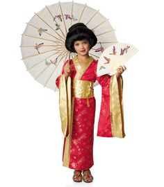 red kimono princess child costume - Chasing Fireflies