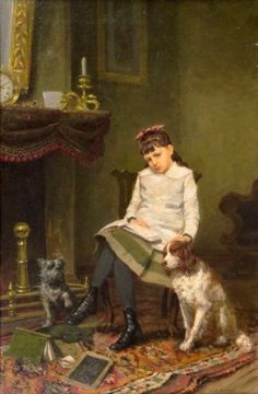 """""""Wish We Could Go Play"""". James Brade Sword (1839-1915), American artist."""
