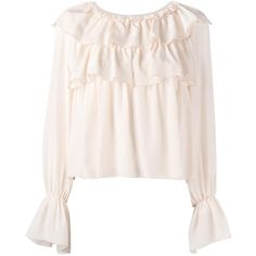 See By Chloé ruffled bell sleeve blouse (3 710 SEK) ❤ liked on Polyvore featuring tops, blouses, shirts, tiered blouse, flared sleeve blouse, pink top, transparent blouse and pink sheer blouse