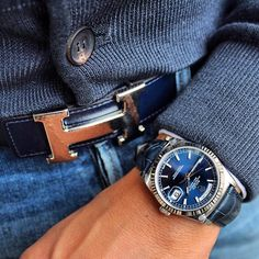 In love with the deep blue dial on this Rolex Day-Date  Looks perfect with @Mirko1704's matching Hermes belt and sweater