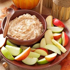 Apple Brickle Dip Recipe -I first tasted this quick and easy dip at a friend's Christmas party. I kept going back for more. —Karen Wydrinski, Woodstock, Georgia