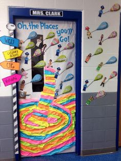 Dr. Seuss door promoting college and career readiness-Students' faces are placed on choice of career clip art and official job title is listed on the balloon.