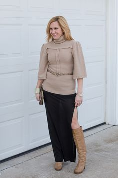 Tracey Reese turtleneck sweater, Bella Luxe maxi skirt, Chloe knee high boots, snakeskin clutch