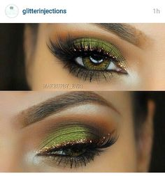 Olive green and glitter liner