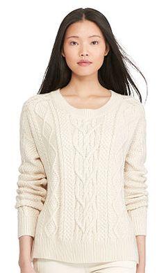 Aran-Knit Crewneck Sweater - Polo Ralph Lauren Crewnecks  amp  Tanks -  RalphLauren. 81d314d4a