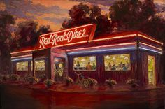 Teresa Vito - Red Rock Diner- Oil - Painting entry - June 2014   BoldBrush Painting Competition