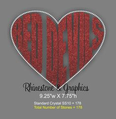 Red Devils Heart Shaped Word Outlined with Rhinestones SVG EPS Cutting file by RhinestonesandGraphi on Etsy