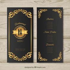 Golden menu template with retro style Free Vector Restaurant Menu Card, Restaurant Coupons, Restaurant Menu Design, Luxury Restaurant, Free Menu Templates, Prospectus, Id Card Template, Estilo Retro, Tag Design