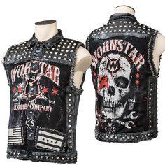 Custom Denim And Leather Skull Vest WSCV-407 MTO http://www.wornstar.com/collections/stage-wear/products/custom-denim-and-leather-skull-vest-wscv-407-mto?utm_content=bufferb5967&utm_medium=social&utm_source=pinterest.com&utm_campaign=buffer #rocknroll #skulls #studs #handmade #metal