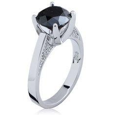 Anel Solitário com Diamante Negro