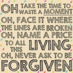 Waste a Moment - Kings of Leon. Lyric art.