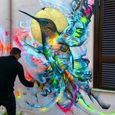 Beautiful & Colorful Graffiti Birds on the Streets of Brazil by Luis Seven Martins aka L7m. |CutPasteStudio| Illustrations,Entertainment, beautiful, Art, Artist, Artwork, nature, World, drawings, paintings, Creativity, World, Street art, graffiti art, murals, birds.