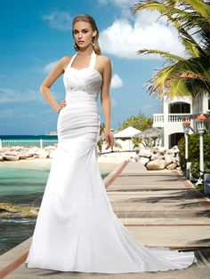 Tbdress.com offers high quality Superior Halter Lace-Up Appliques Beading Court Train Wedding Dress Trumpet/Mermaid Wedding Dresses unit price of $ 149.99.